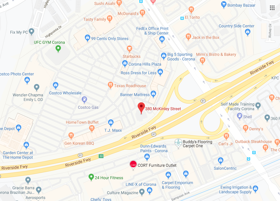 Map for location: Corona, CA