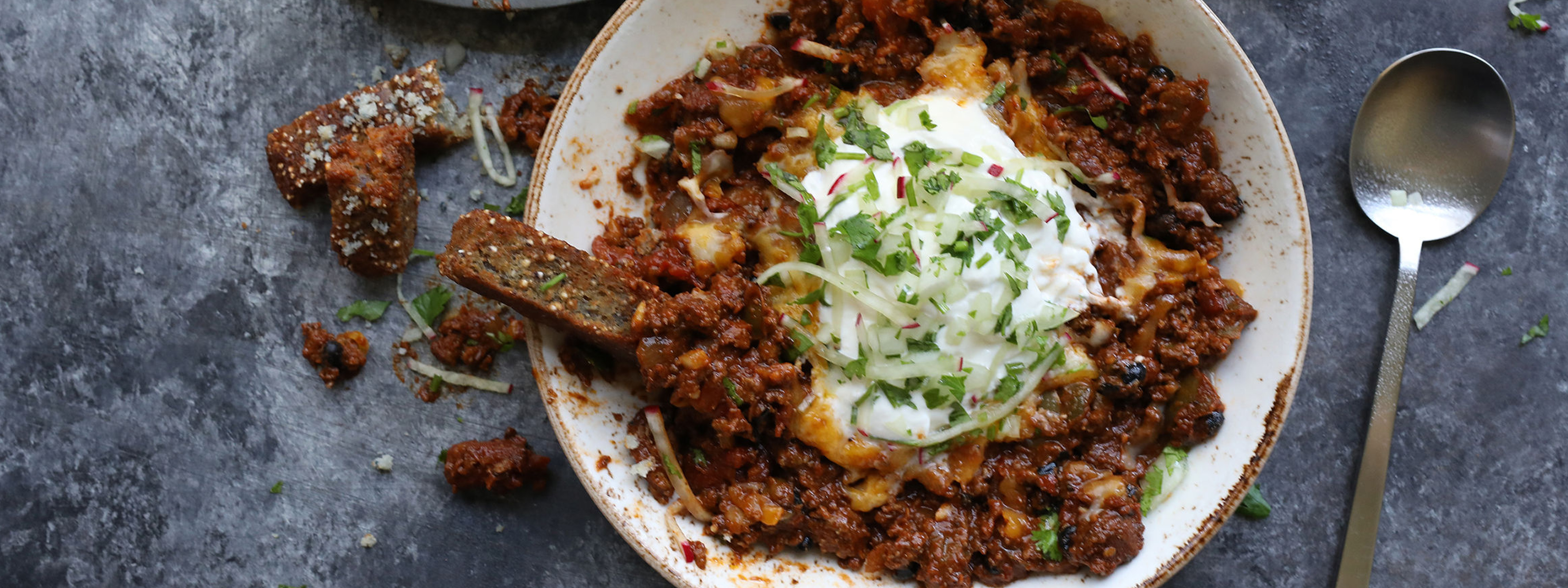Wild Boar Chili and Indigo Cornbread Fries