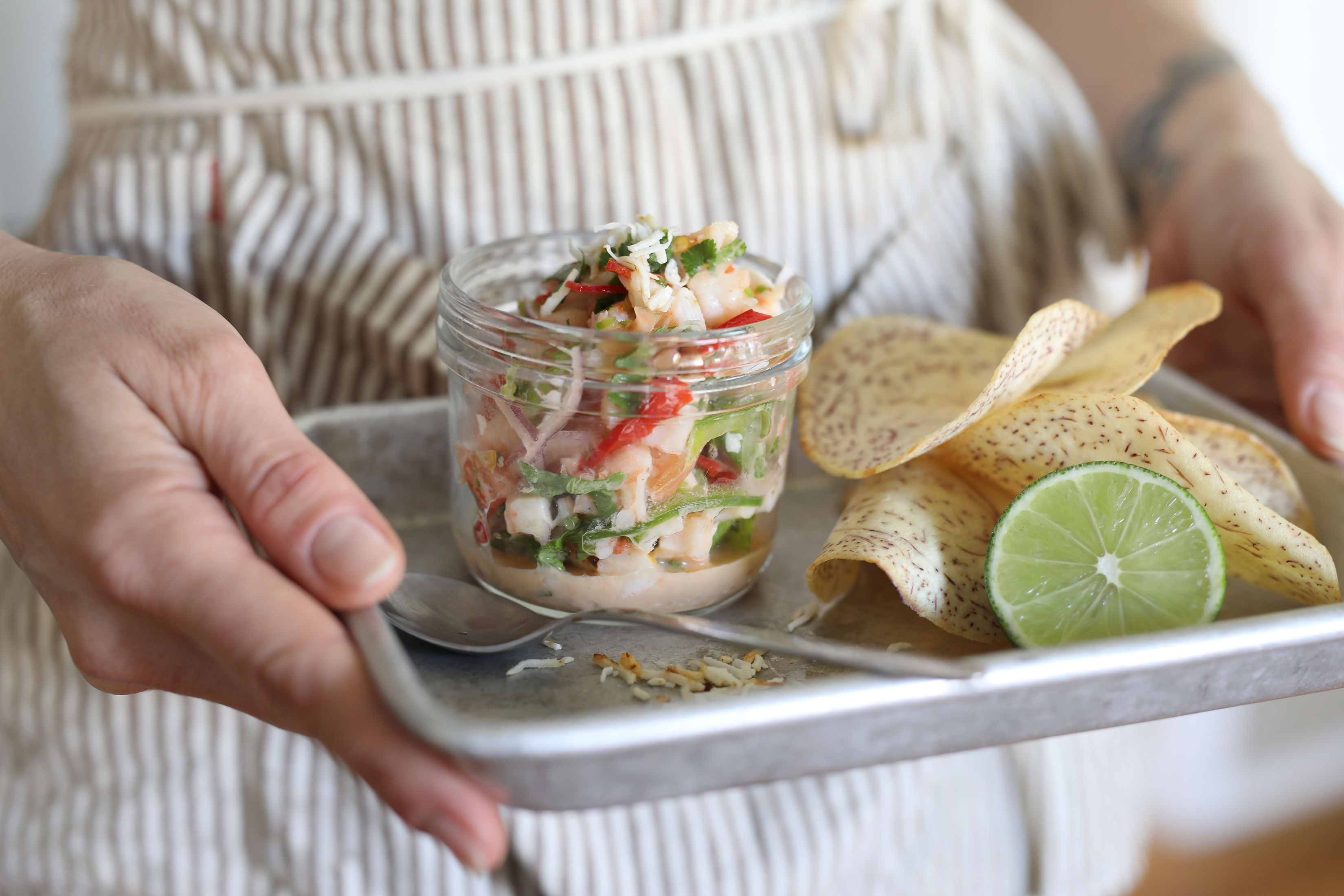 Coconut Shrimp Ceviche finished and ready to be served