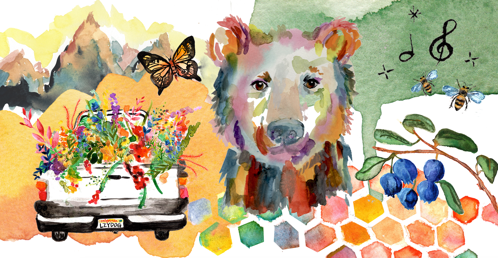 Water color image of bear, car and plants