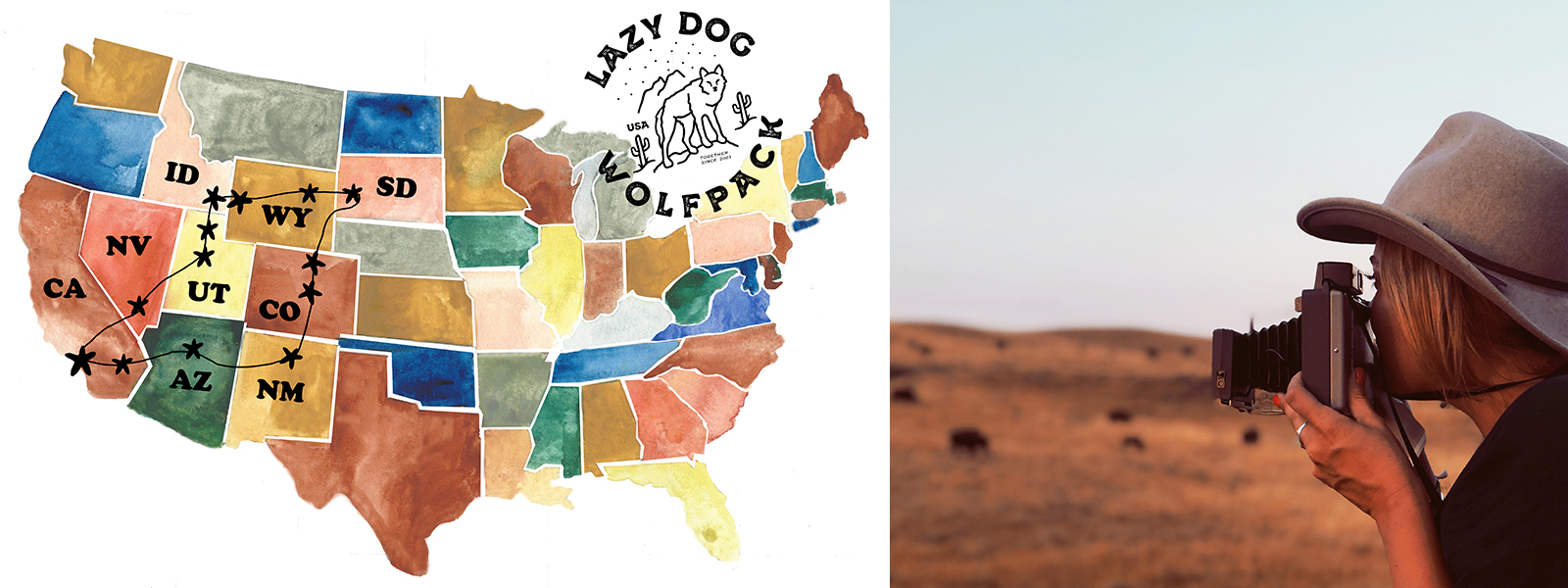 Map of all the stops on Lazy Dog's road trip. Taking photos out in a field.