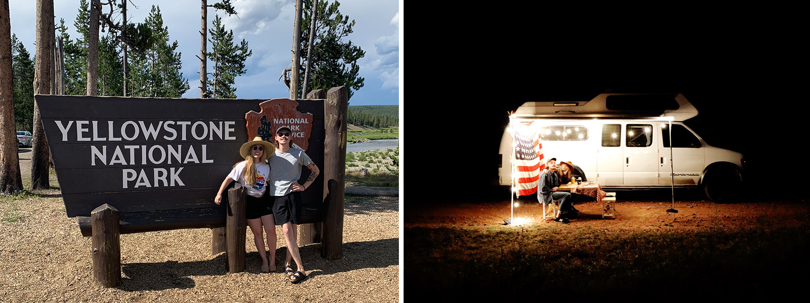 Our stop at Yellowstone National Park, van under the stars.