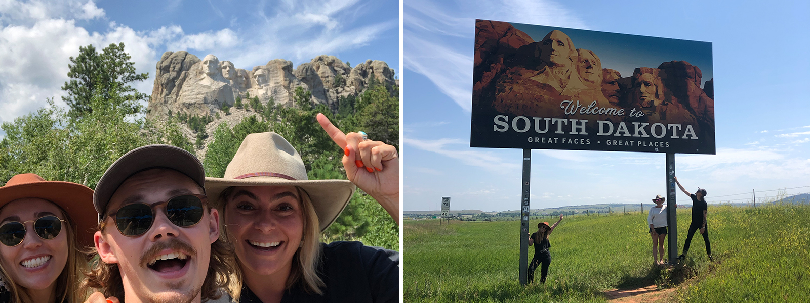 In front of Mount Rushmore, South Dakota. Group under large South Dakota sign.
