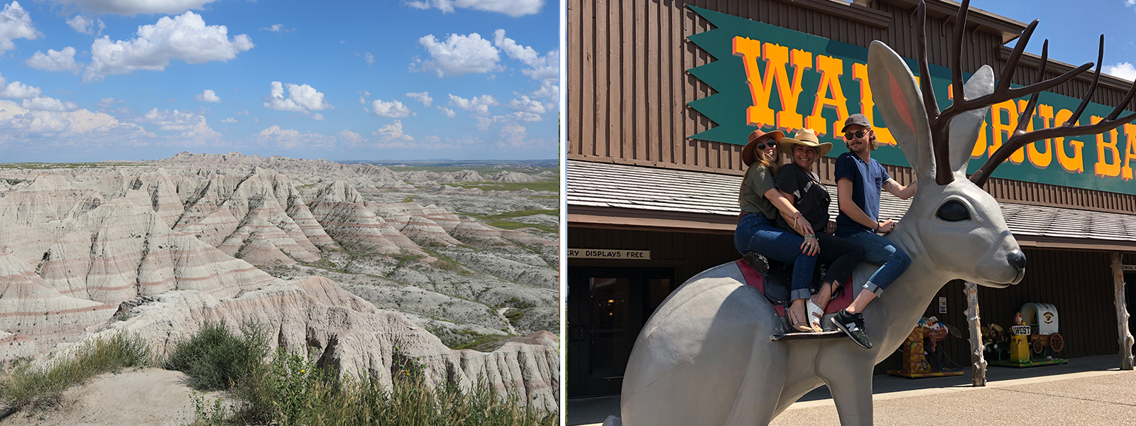 View of Badlands National Park. Group on top of a giant jackalope at the Wall Drug store