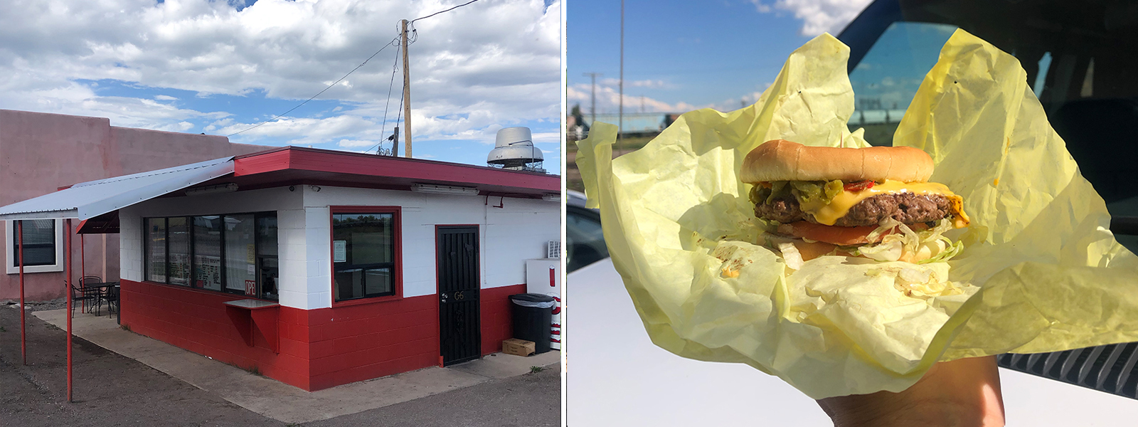 Red and white building called G6 Burger. Holding a cheeseburger.
