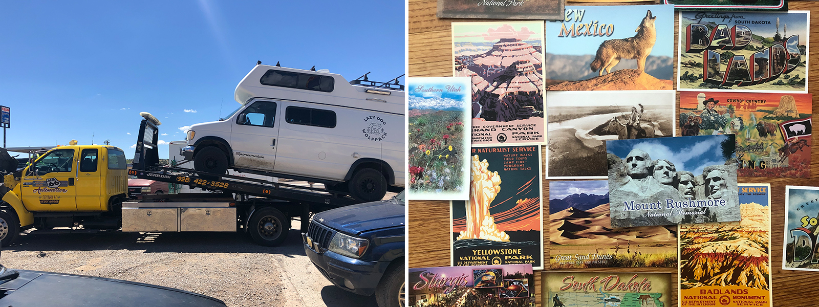 Van being towed. collection of postcards from every stop on the road trip