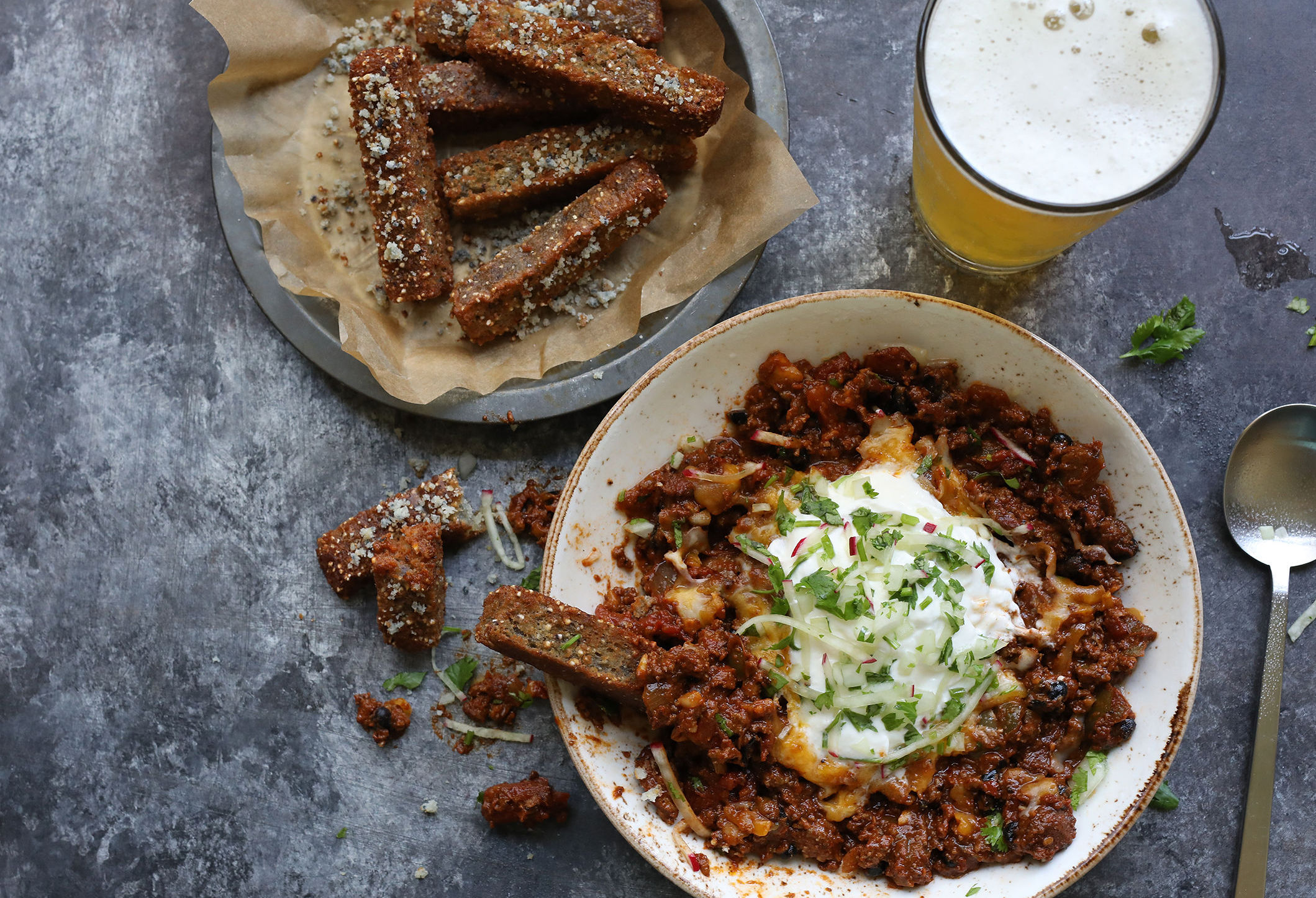 wild boar chili and cornbread fries