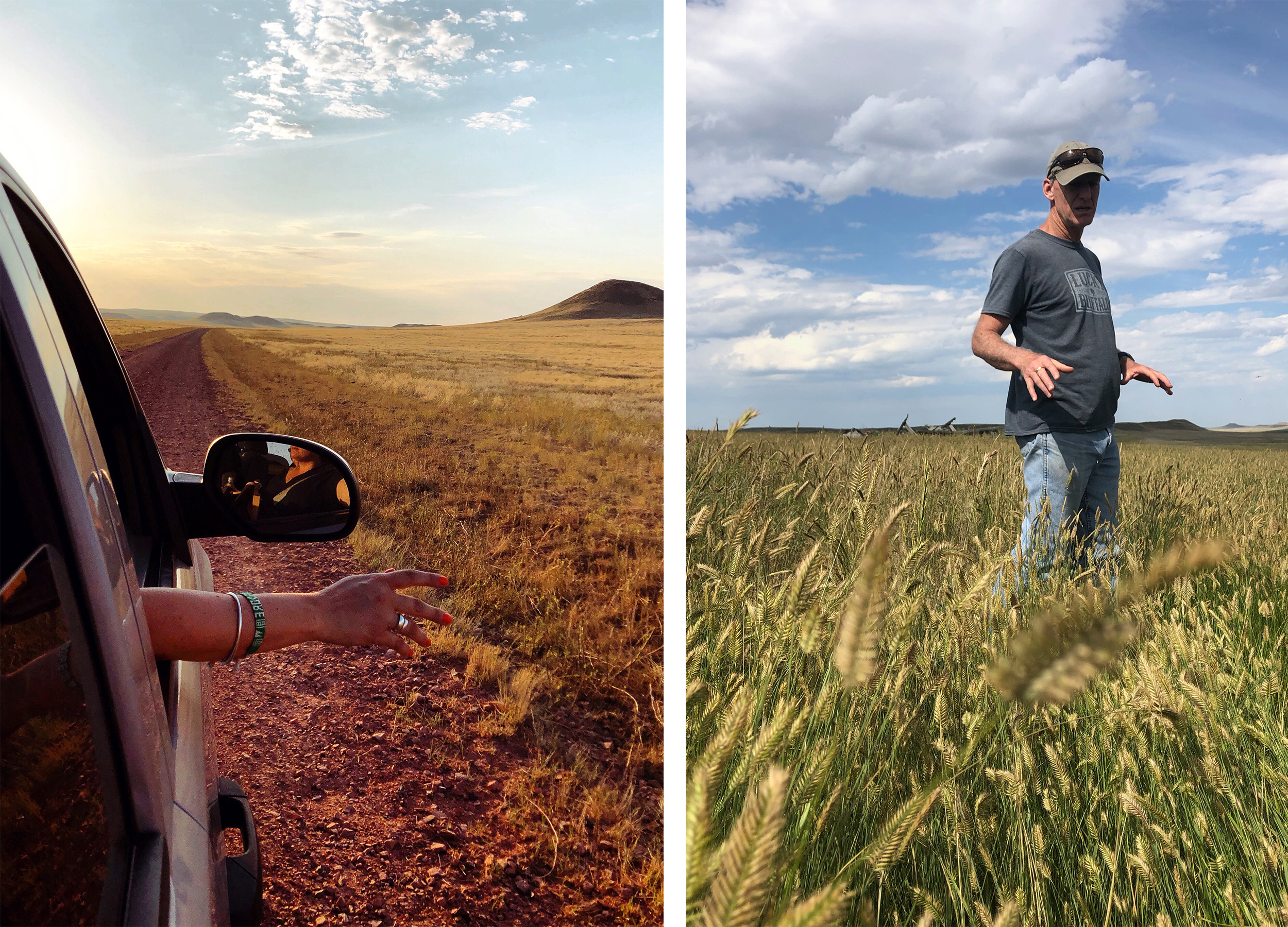 Left: Driving in Open Plains with Hand out the Window. Right: Man Standing in field