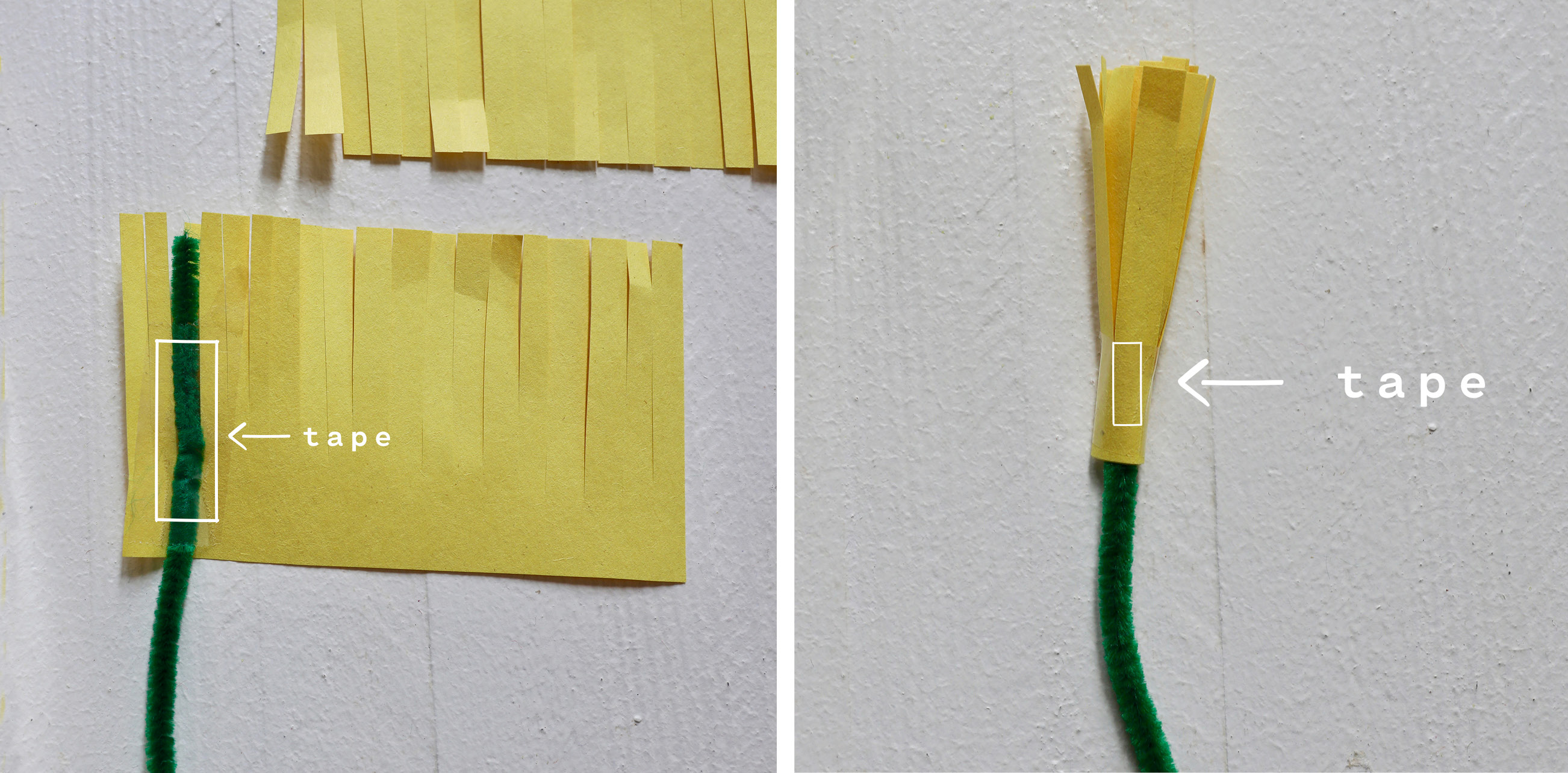 Tape to green pipe cleaner